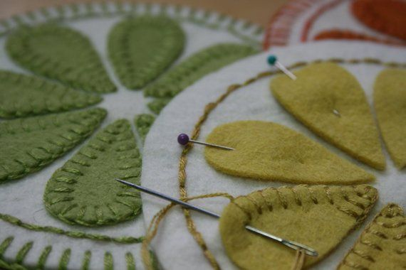 Photo of Summer Delight PDF Penny Rug Pattern, wool felt applique embroidery, drink coasters juice jug mat, cottage decor, blanket stitch, easy peasy