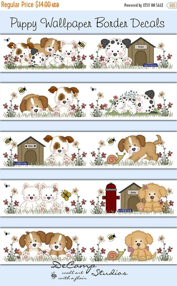 Puppy Wallpaper Border Decals Wall Art Baby Boy Dog Nursery Kids Room Childrens Bedroom Cute Animals Bee Stickers Decor