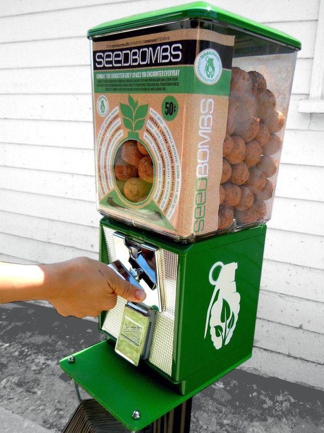 Guerrilla gardening - greenaid seed bomb vending machine