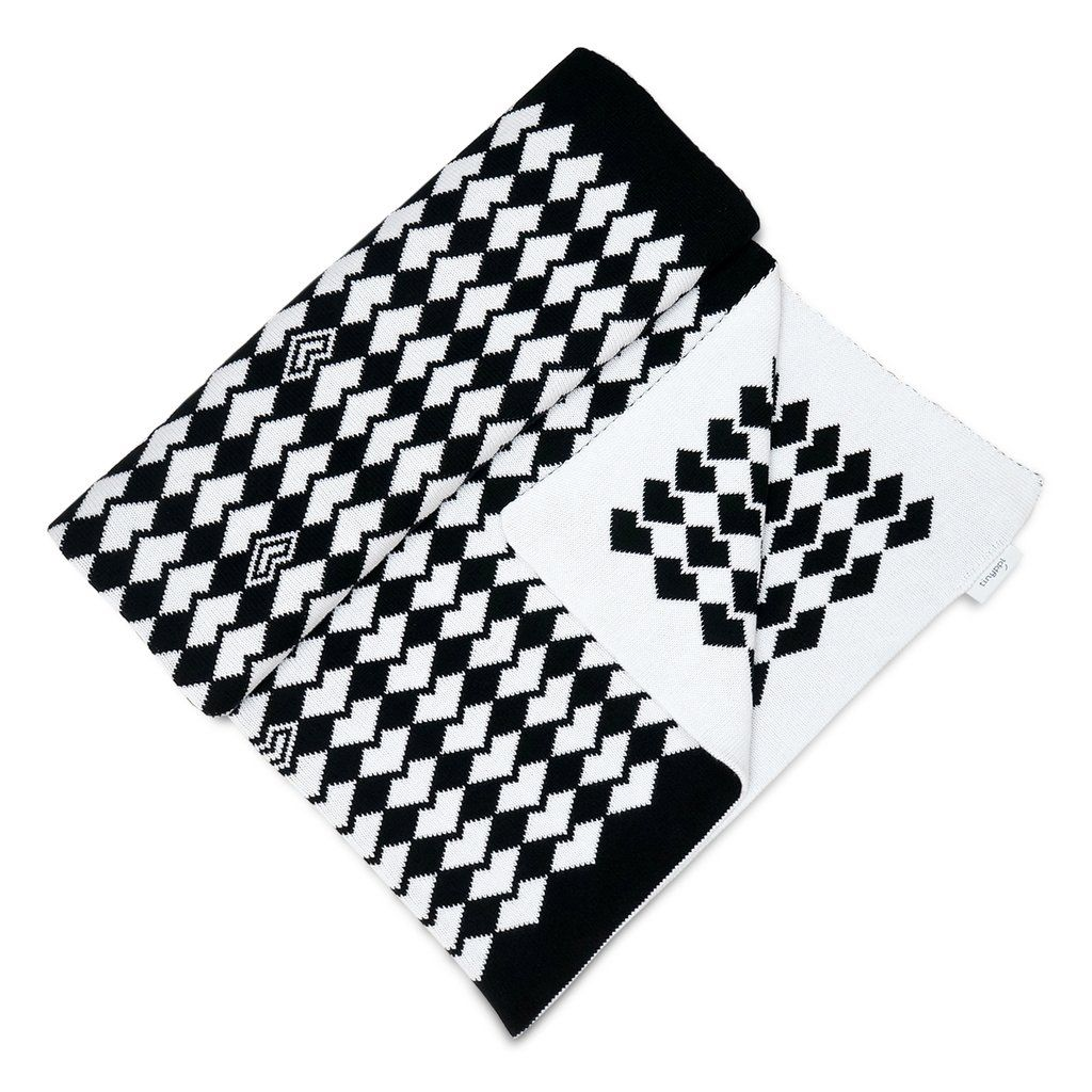Large Knitted Cotton Baby Blanket, Monochrome