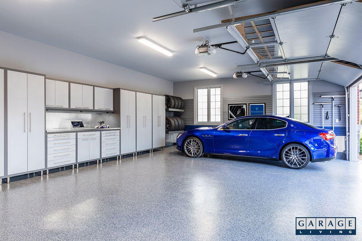 3 Car Garage With Storage Cabinets Blue Maserati Tire Racks In