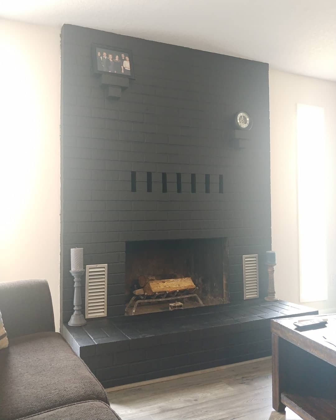 Black Fireplace Project Completed In 2020 Red Brick Fireplaces Black Fireplace Brick Fireplace