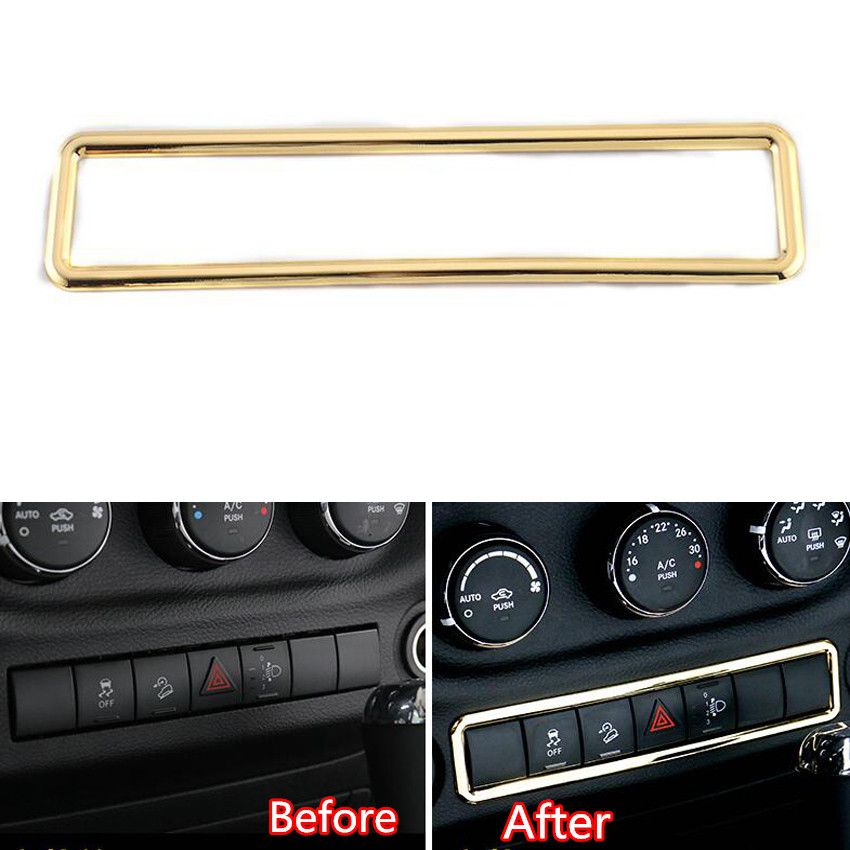 Auto Car Gold Emergency Lights Warning Lights Lamp Switch Button Frame Cover Trim Styling Fit For Wrangler 2011 2 With Images Emergency Lighting Lamp Switch Warning Lights