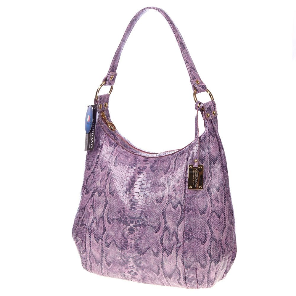 Giordano Italian Made Lilac Snakeskin Embossed Patent Leather Hobo ... d9f0521c17e11