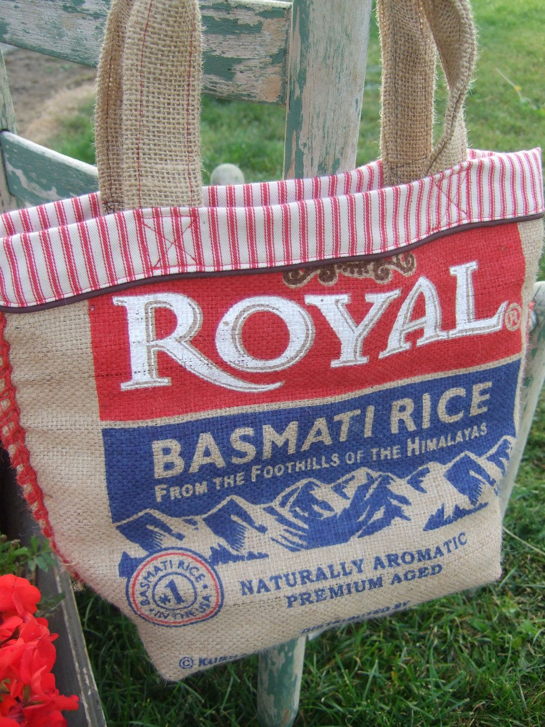 Recycled rice bag purse - Recycled Burlap And Red Basmatti Rice Bag Tote Bag Upcycled