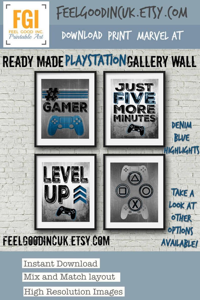Set of four PLAYSTATION Video Game Prints for gamer room or boy bedroom,  boy room decor, gift for teen, video game posters, gaming print #gamerroom