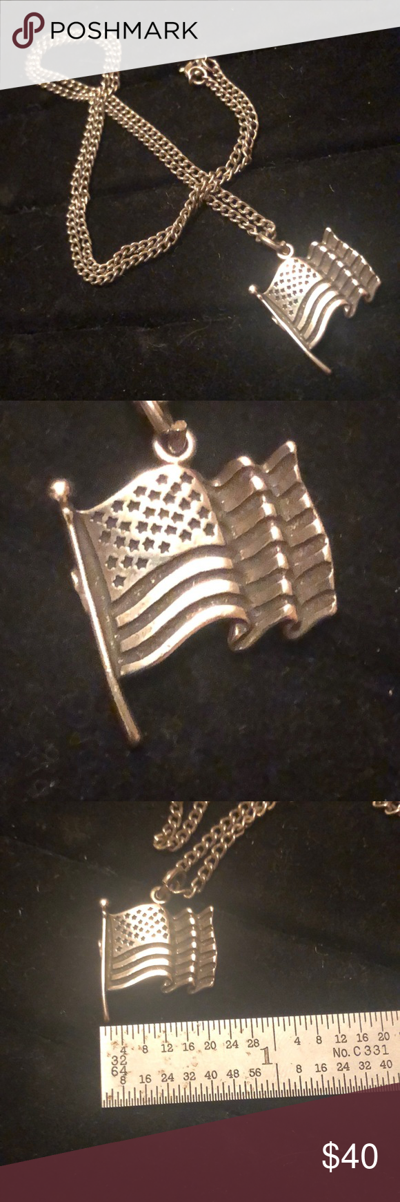 July 4th Sterling Silver Flag Necklace 20 Silver Cleaning Cloth My Jewellery Fashion Design