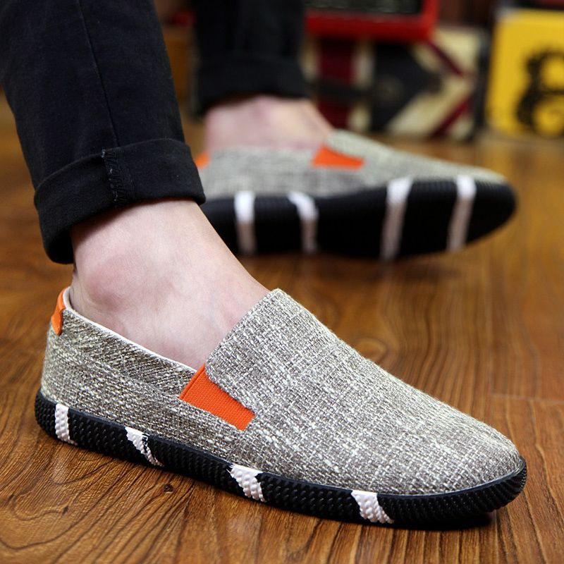 Summer men shoes men's casual shoes Peas Korean tidal shoes a pedal breathable canvas summer shoes old Beijing - Shadmart.com