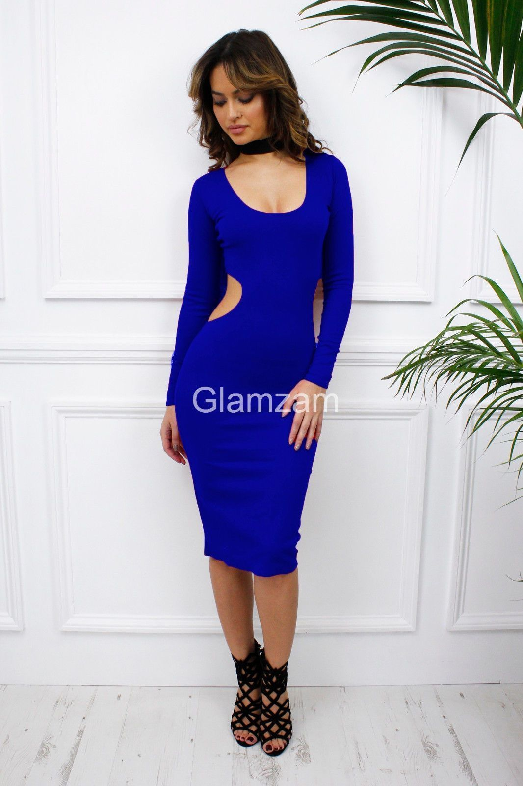 Glamzam womens ladies blue cut out backless long sleeve midi bodycon