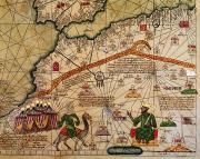 Moroccan Art - Catalan Map of Europe and North Africa Charles V of France in 1381  by Abraham Cresques