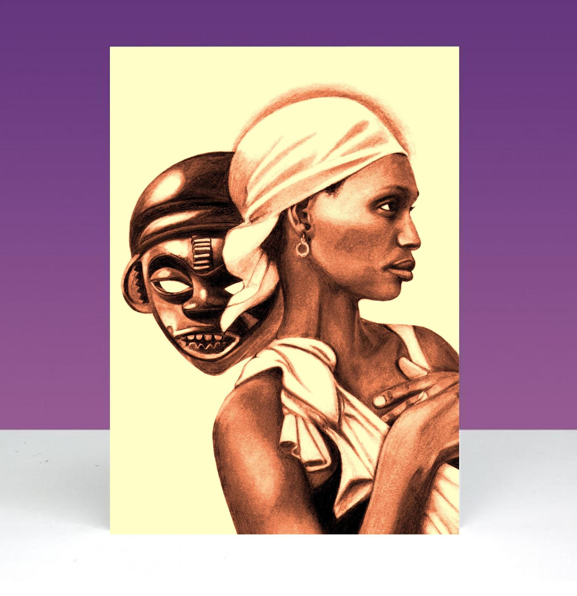 African woman and mask by frederick wisdom httpsfacebook by frederick wisdom httpsfacebooktheafrocardcompany culture and arts pinterest black people and masking kristyandbryce Gallery
