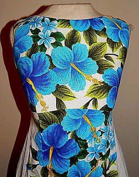 Vintage 60's Hawaiian Blue HIBISCUS Floral Print Cocktail Party Dress MOD