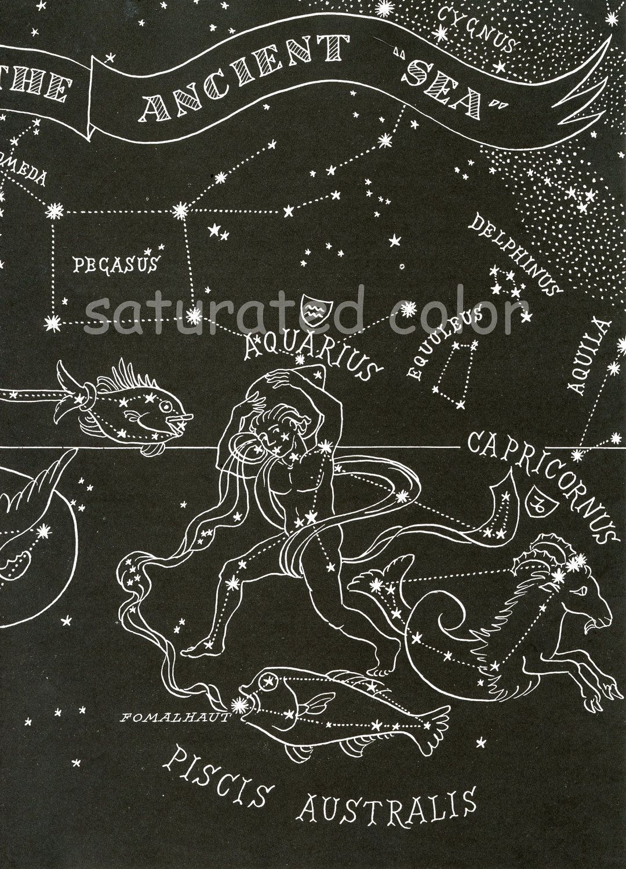 Ancient Sea Constellations 1948 Pisces Capricorn