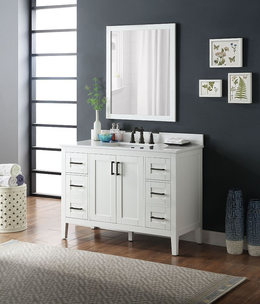 Home Decorators Collection Ellia 48 Inch Vanity In Grey With White Carrera Top The Home Depot Canada Home Decorators Collection Grey Cabinets Mdf Cabinets