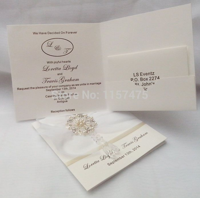 HI1017 - Elegant Ivory Personalised Wedding Invitations with Crystal ...