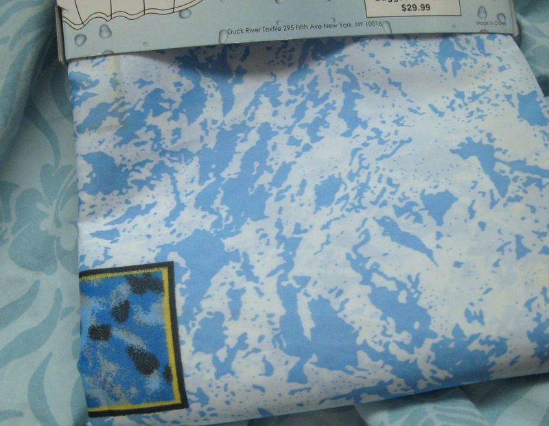 FABRIC Shower CURTAIN ~ Super Soft 70 x 72 BLUE AND WHITE | eBay