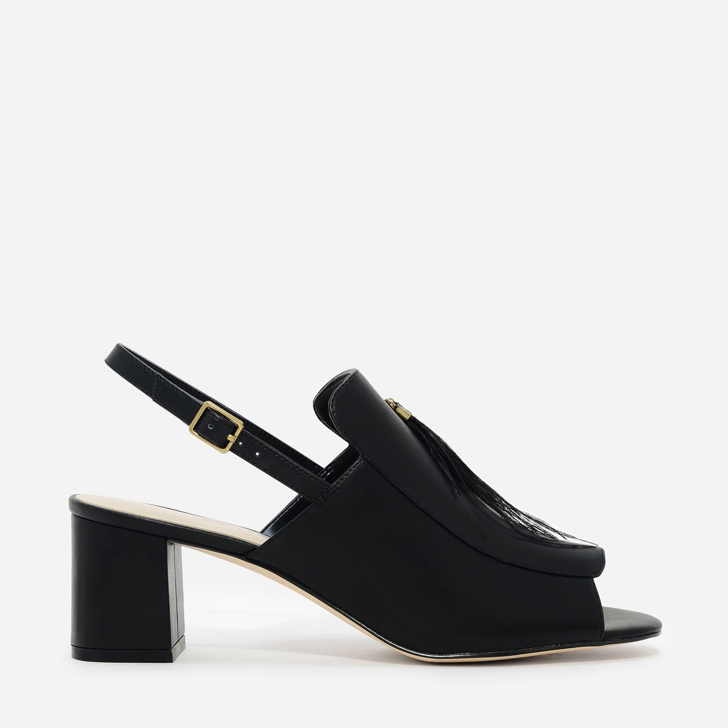 410dfb9a4d45 CHARLES   KEITH - Shoes. Black open-toe sandals featuring a chunky block  heel and feather accessory. Slingback strap fastens with a metal buckle  closure.