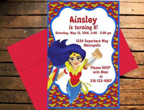 Downloadable DC Superhero Girls Wonder Woman Themed Birthday Invitation