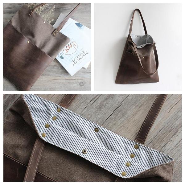3f244cd27aa8 Handmade Waxed Canvas and Leather Tote Bag Women s Handbag Casual Shopper  Bag School Bag 16006--------------------------------- Waxed Canvas and Top  Grain ...