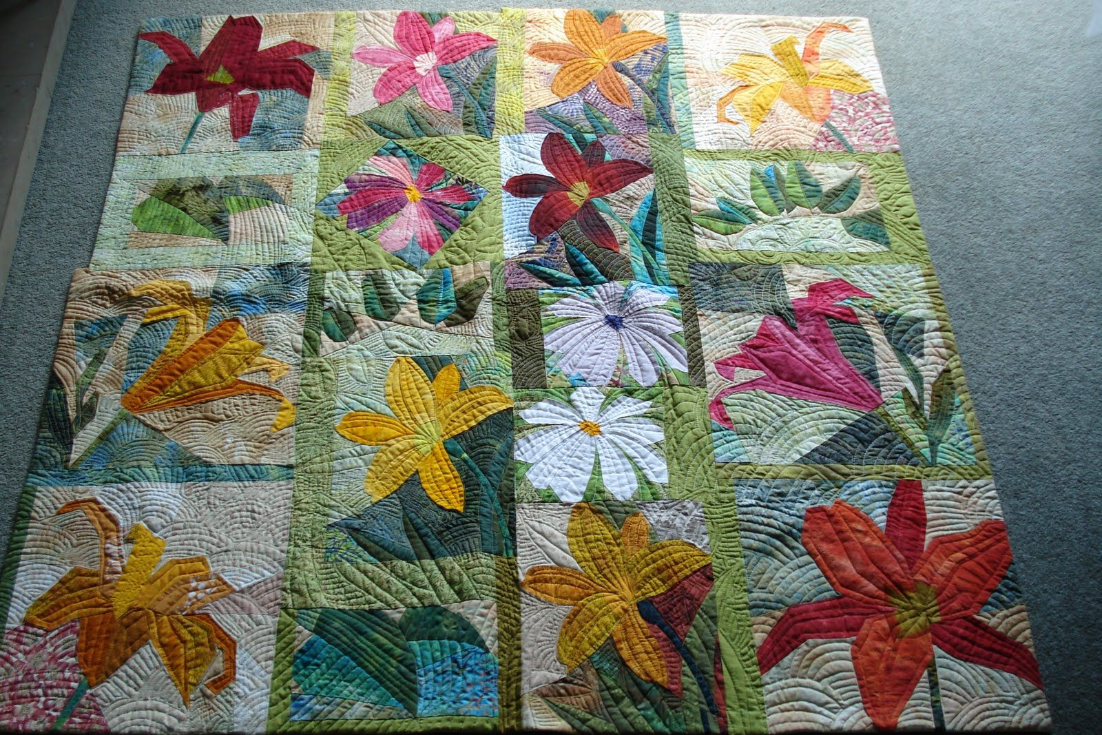 Images Of Orange Pieced Quilts Welsh Quilts Pieced Flowers And