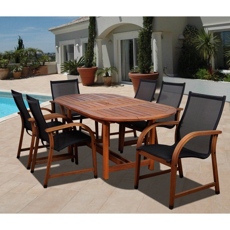 Outdoor Amazonia Indiana 7 Piece Oval Eucalyptus Patio Dining Set