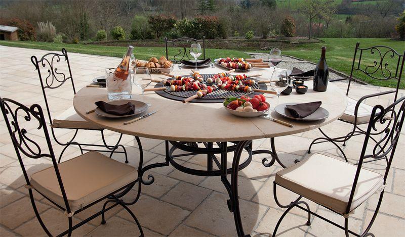 Table ronde barbecue mirage en fer forg et pierre tella jardin pinterest ambiance - Table jardin barbecue creteil ...
