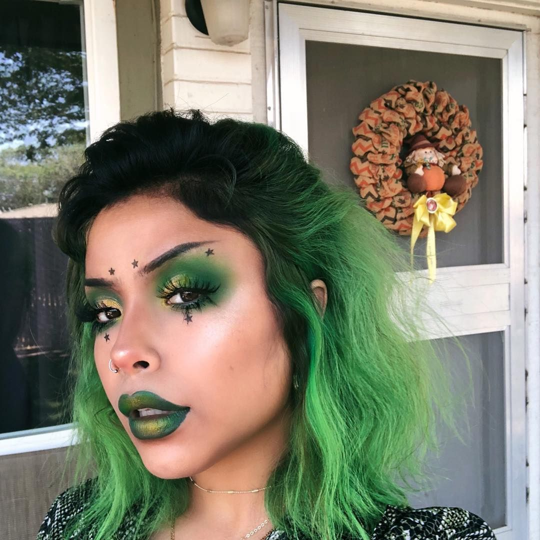 6 914 Likes 57 Comments Hellaspicy On Instagram Lime Green Was Cool Til You Give It One Wash And End Up Lo Monster Makeup Green Makeup Witch Makeup