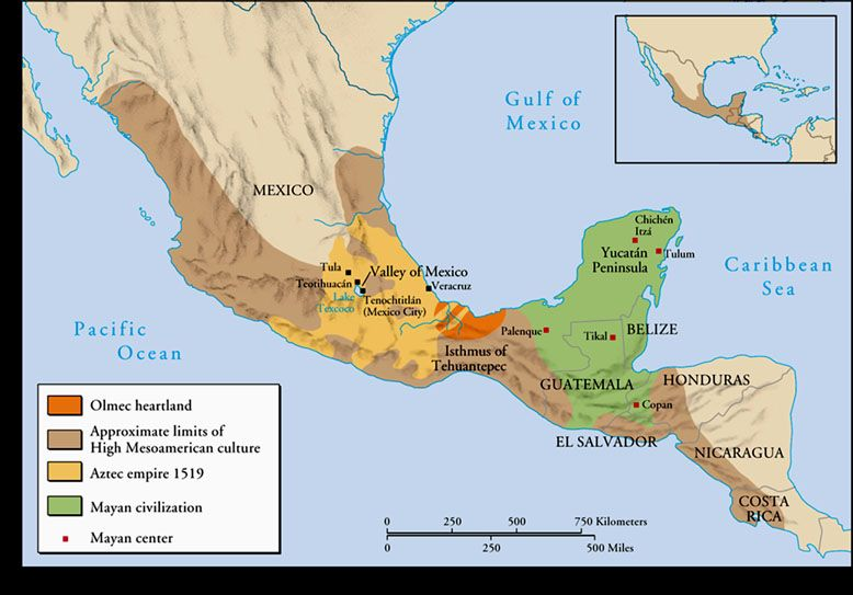 Aztec and Mayan Empires yellow and green only Maps – Aztec Mexico Map
