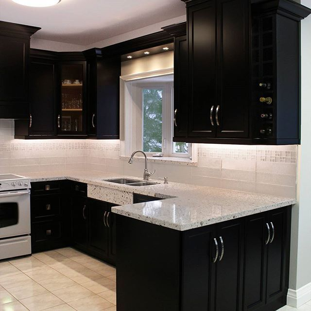 Chestnut Grove On Instagram Slick Black Cabinets With Silver Handles Complemented By An Elegant Modern Kitchen Design Kitchen Interior Kitchen Remodel Small