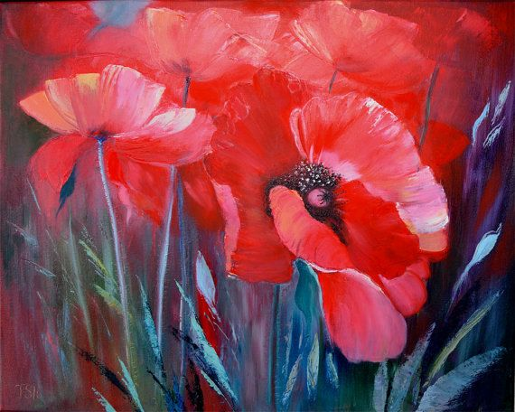 Pavots rouges toile floral fleur moderne par - Peinture fleur moderne ...