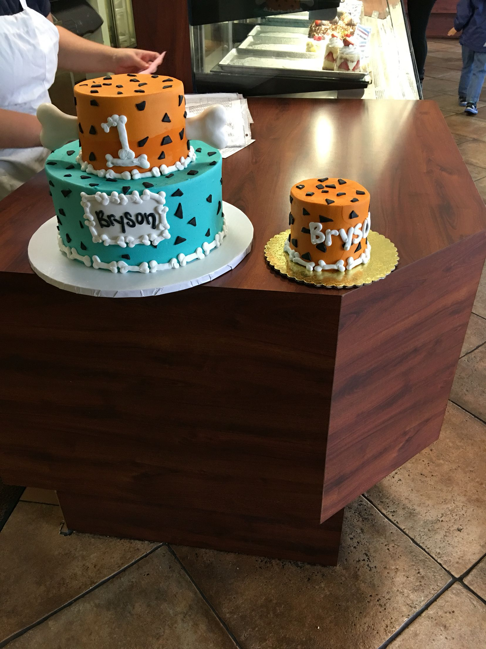 Flintstones 1St Birthday Party Cake With Matching Smash Cake
