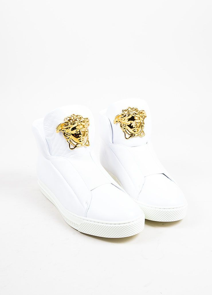 MEN'S Versace White Leather Gold Tone
