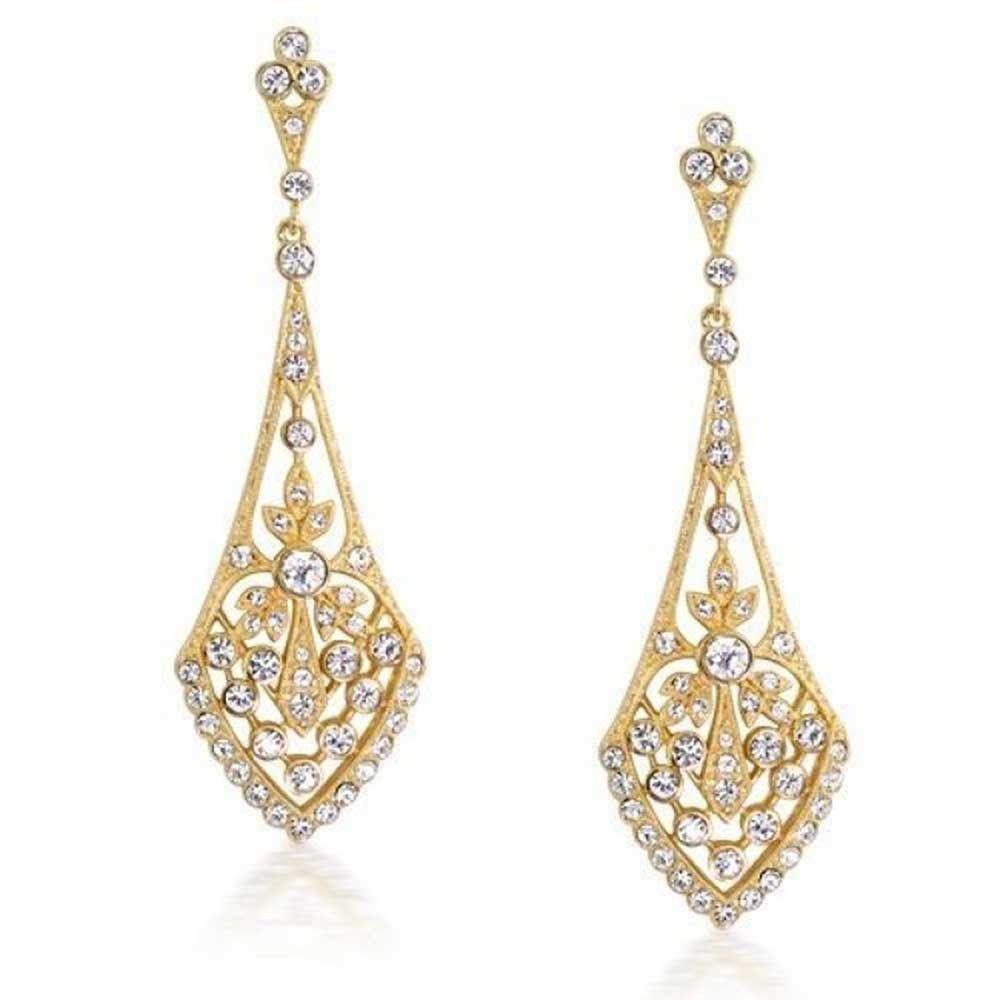 Bling Jewelry Gold Plated Leaves Pave Cz Teardrop Chandelier Dangle Earrings