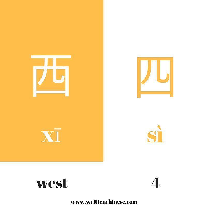 西 Means West And Has The Additional Line Above Its Enclosure 四 Is The Number 4 西 Mandarin Chinese Learning Chinese Language Writing Chinese Language Learning