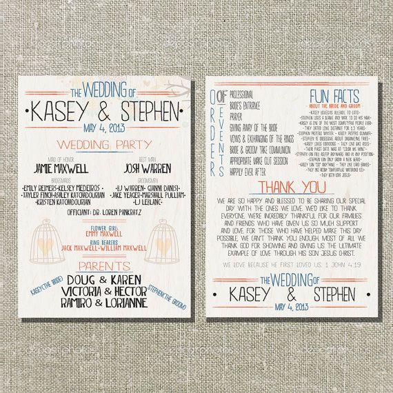 Printed OR Printable Wedding Program Bird Cage