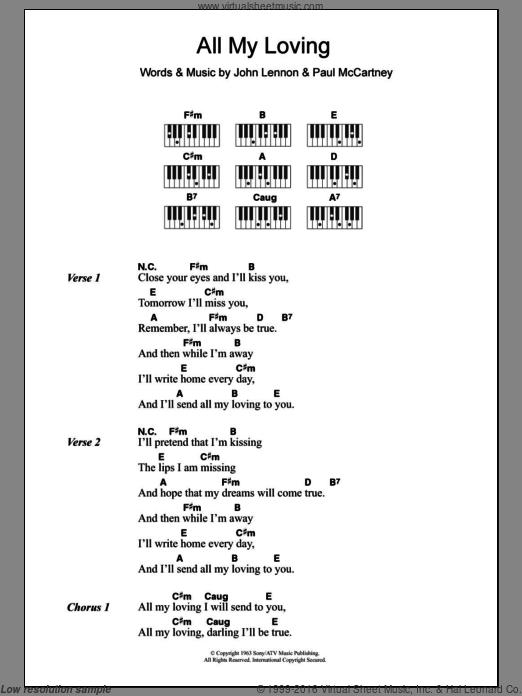 Beatles All My Loving Sheet Music For Piano Solo Chords Lyrics Melody Beatles Sheet Music All My Loving Lyrics