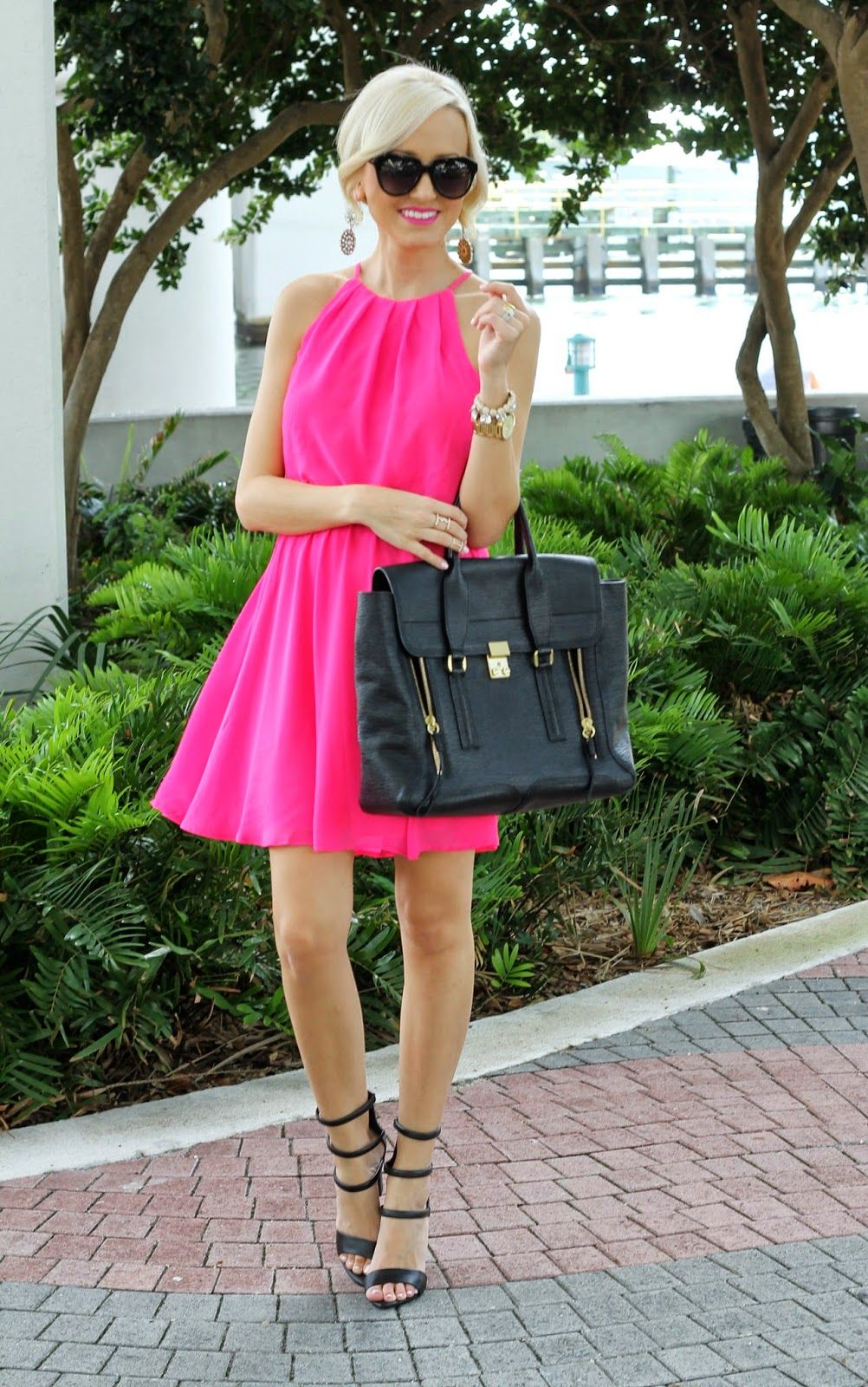 Pretty hot pink dress looks great with black strappy heels | Dress ...