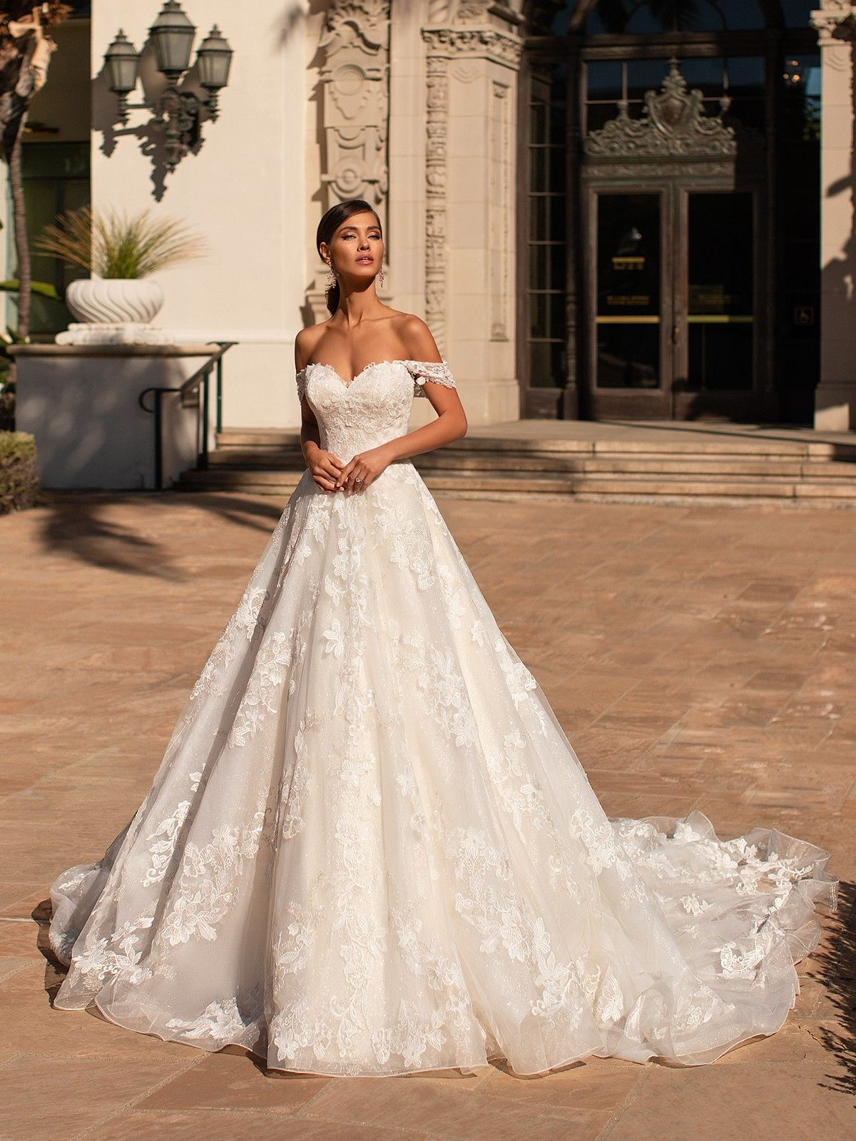 Princess Sparkly Lace Full ALine Wedding Gown with