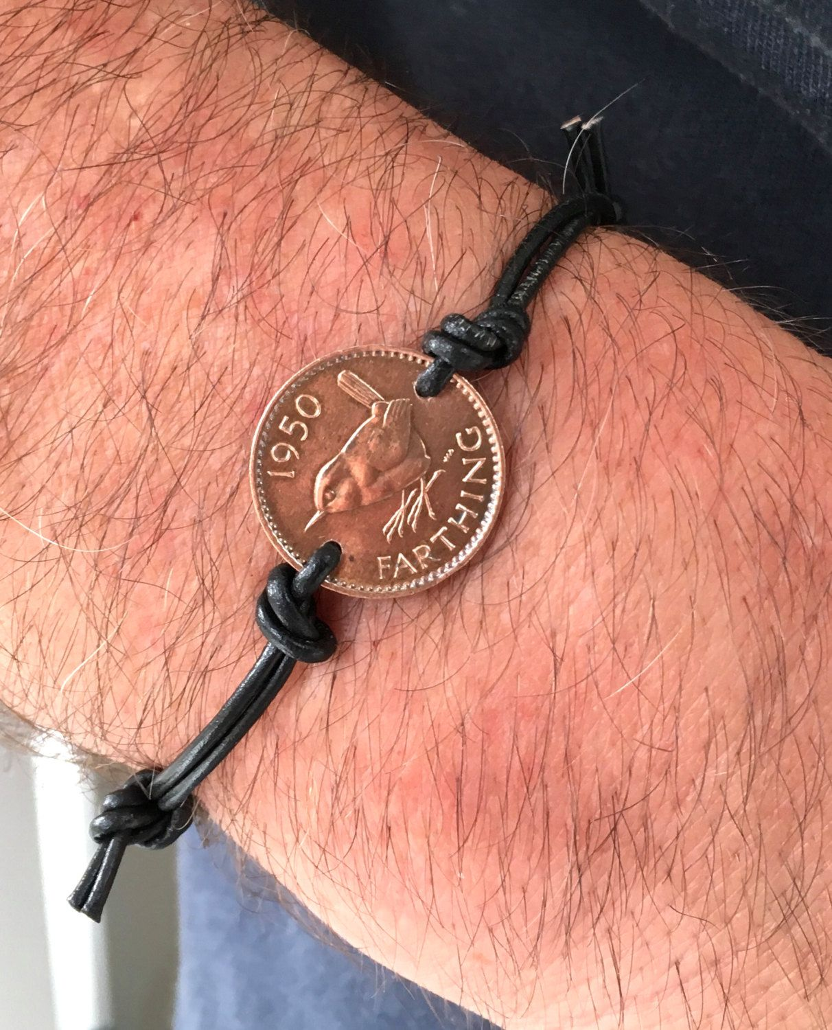 Mens coin bracelet farthing bracelet leather jewelry leather coin