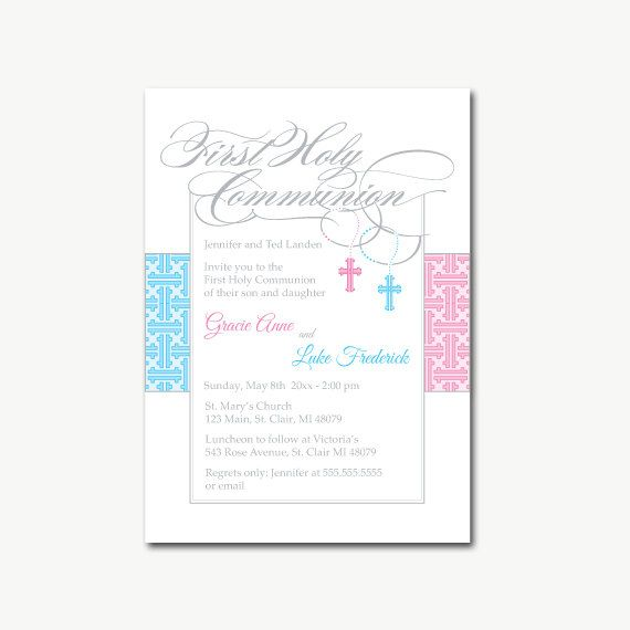 Twin Boy and Girl First Communion Invitations by ArtsyInvites - sample baptismal invitation for twins
