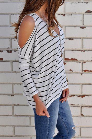 7c7a9942e7074 White Stripe Cold Shoulder Long Sleeves T-shirts US 9.99