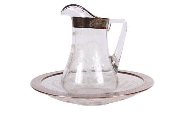 STERLING SILVER OVERLAY WASH BOWL & PITCHER : Lot 37