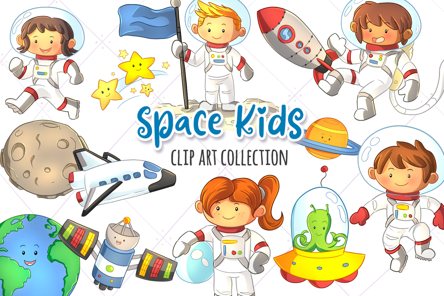 Cute Space Kids Clip Art Collection Graphic By