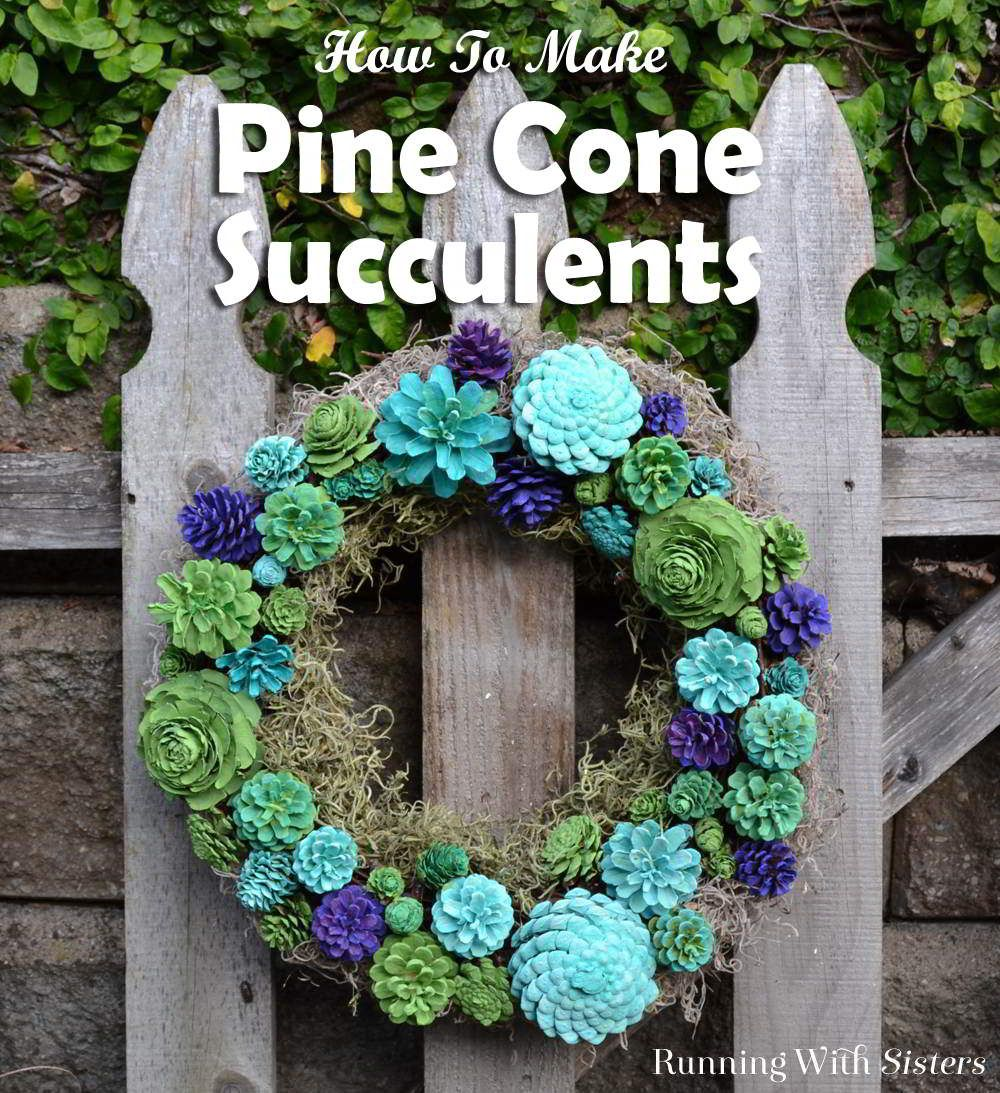 Make Your Own Pine Cone Succulents - Running With Sisters #pineconeflowers