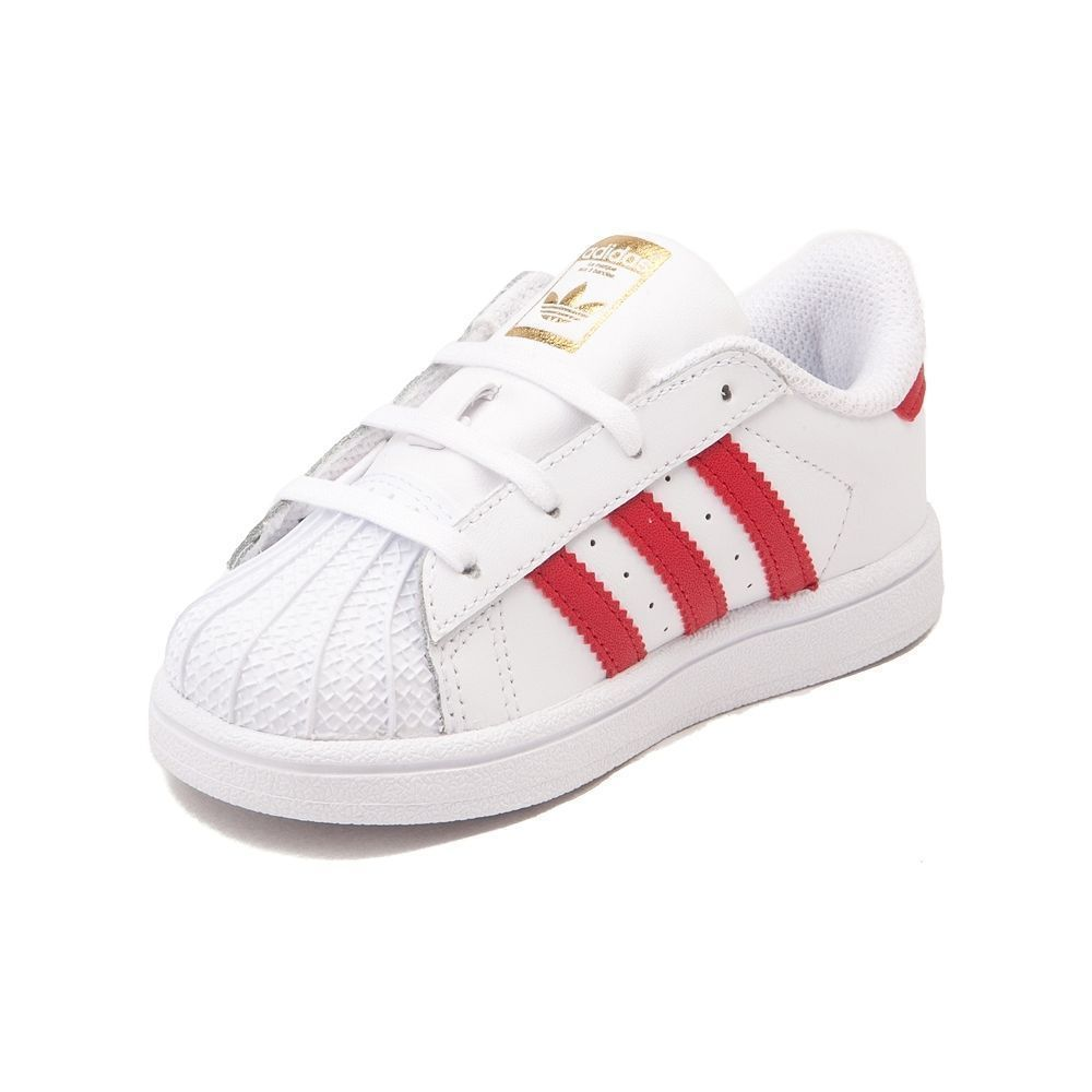 NEW Toddler adidas Superstar Athletic White Red Toddler Infant Boys Girl  Shoe