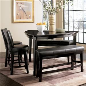 Ashley Millennium Emory 5 Piece Triangle Pub Table Set With Two 24 Inch Upholstered Swivel Bar Stool And Dining