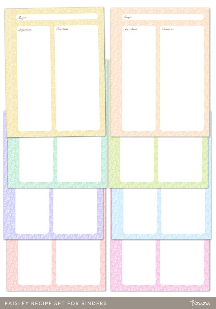 Free recipe page printable for half sheet binders | Tidy Tangle ...