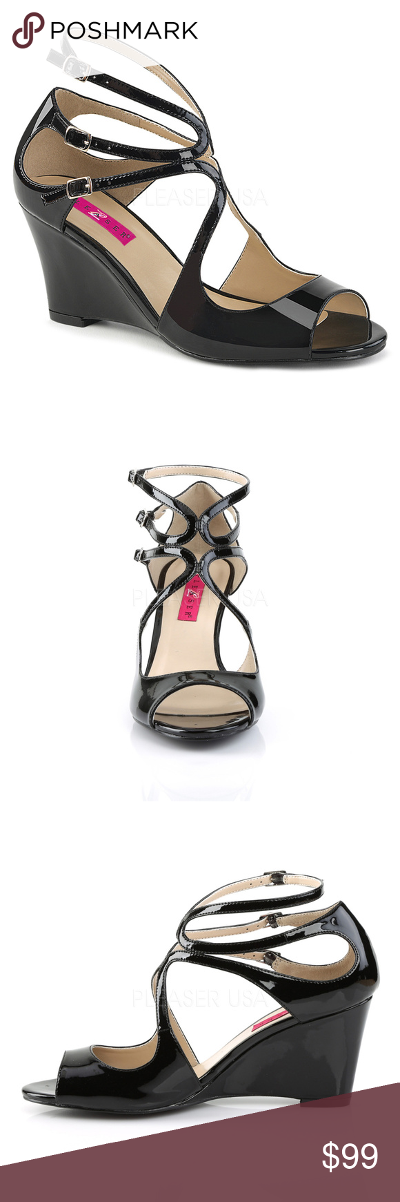 258d4f5c81a797 Strappy Wedge Sandal Shoes Large Sizes 9-16 Black Strappy Wedge Sandal  Shoes Large Sizes 9-16 Red 3