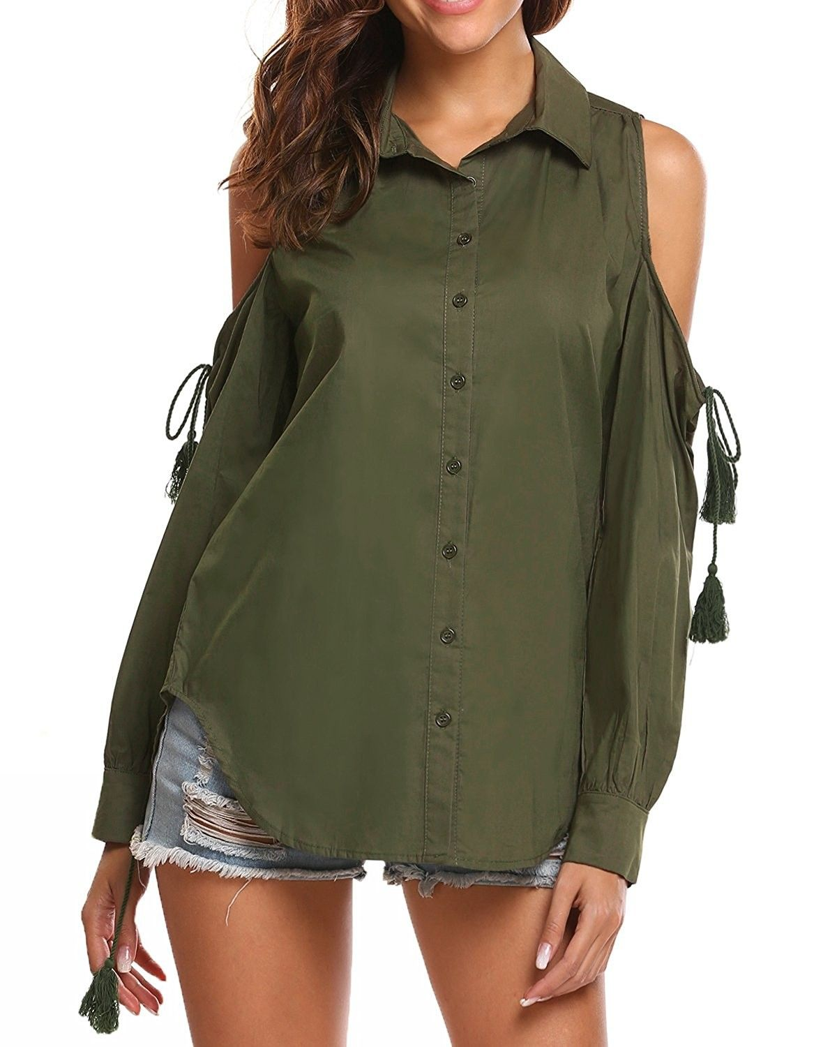 985cb027 Women's Clothing, Tops & Tees, Blouses & Button-Down Shirts, Womens Cold  Shoulder Long Sleeve Button Down Shirt Blouse with Tassel Accents - Army  Green ...