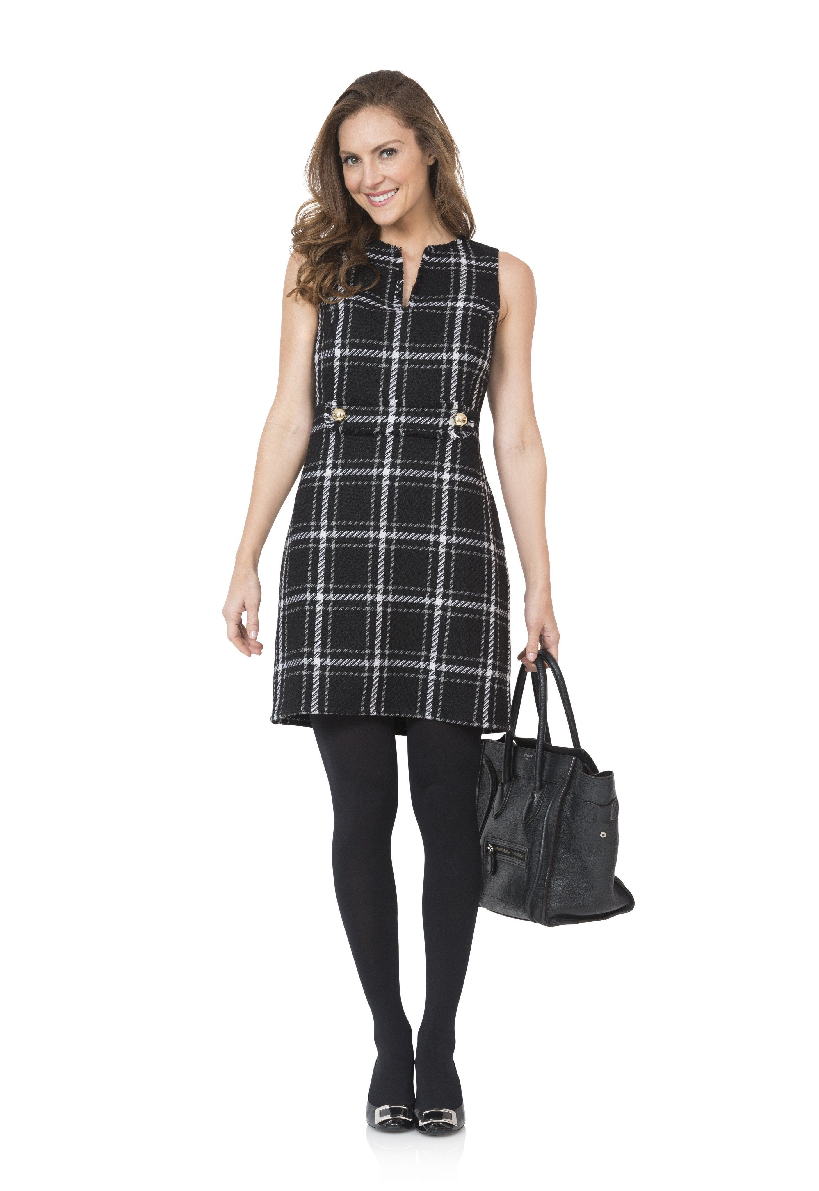 ad4a4a7da97 Sail to Sable Black Plaid Belted Dress in 2018